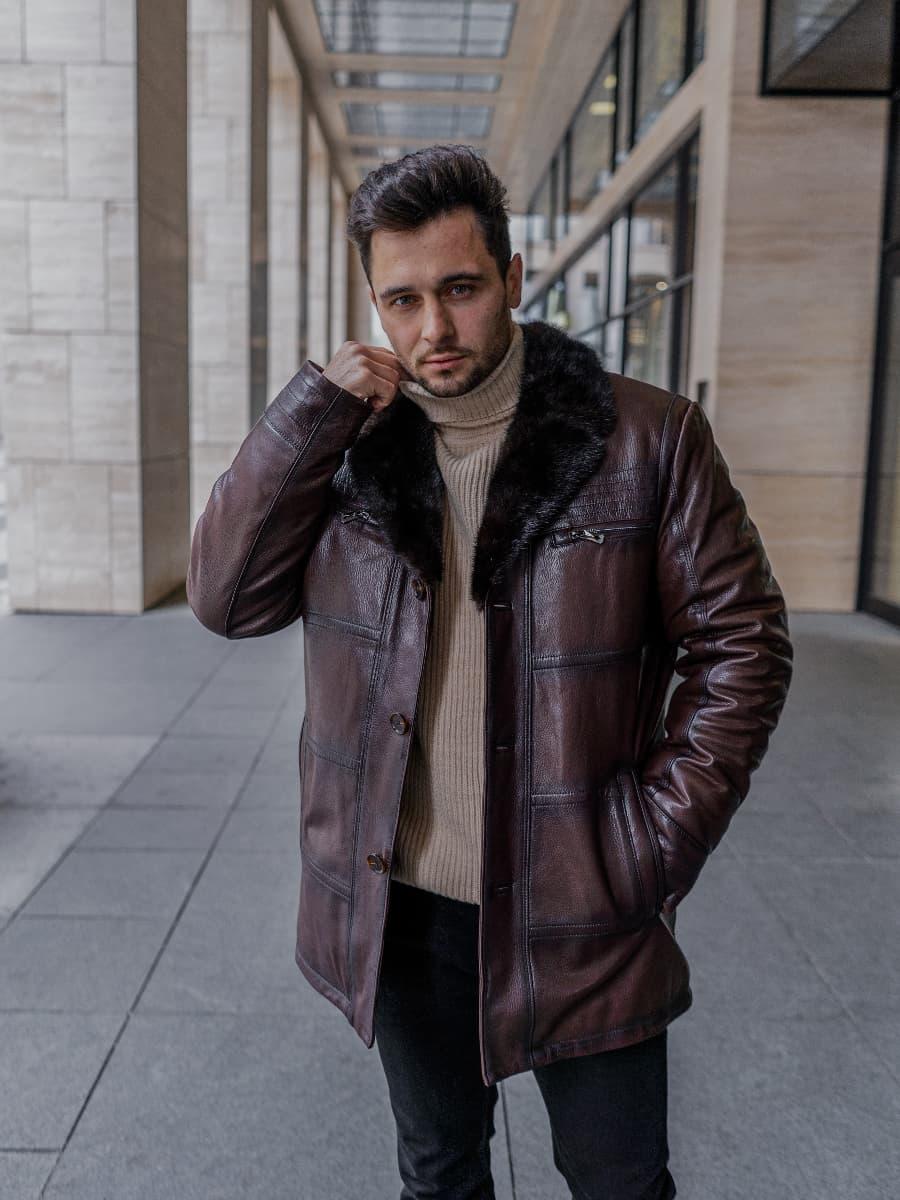 Коричневая зимняя кожаная куртка Andrew