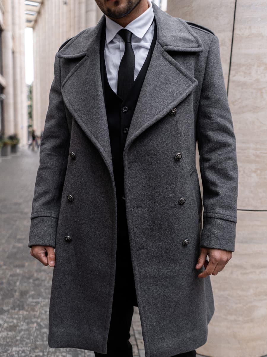 Пальто мужское серое Cole