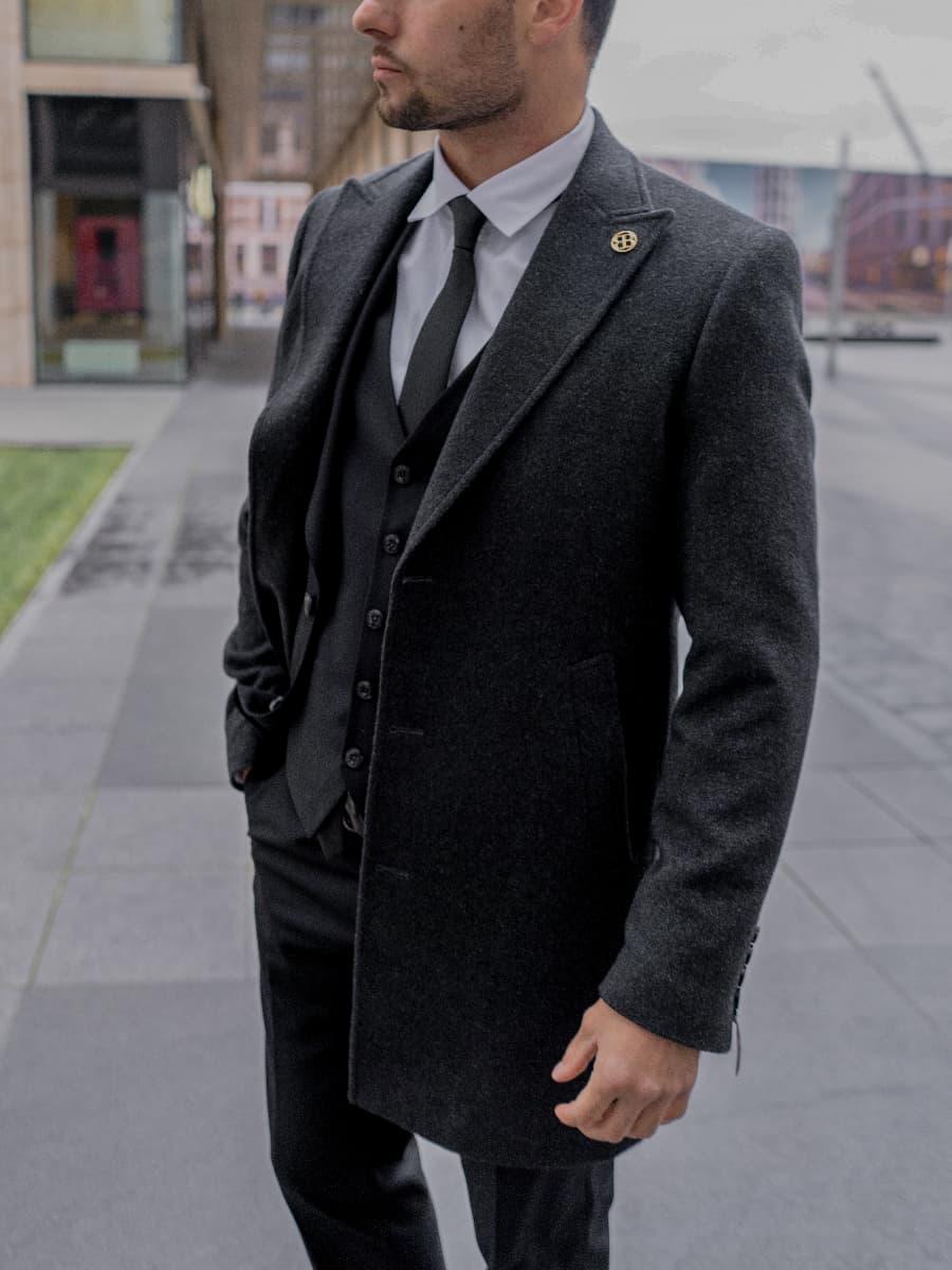 Пальто мужское темно серое Chase