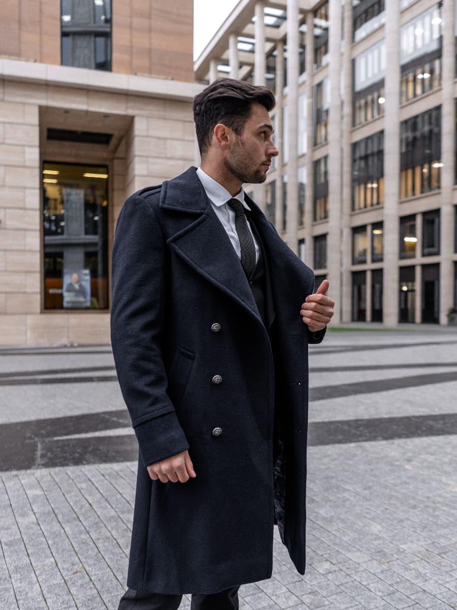 Пальто мужское синее Charles